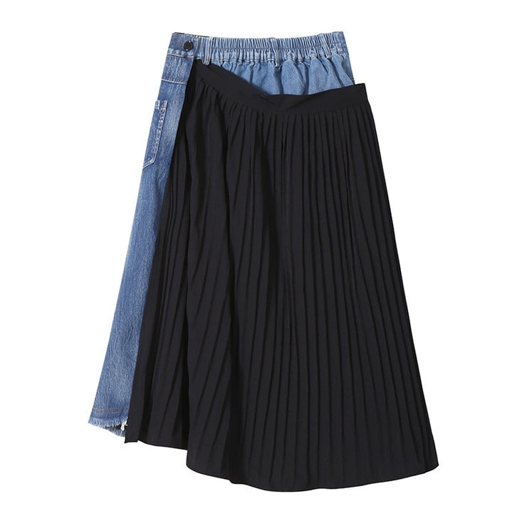 GOLDxTEAL Wrap It Denim Skirt. Asymmetrical distressed denim skirt with toned paneling and pleated wrap.