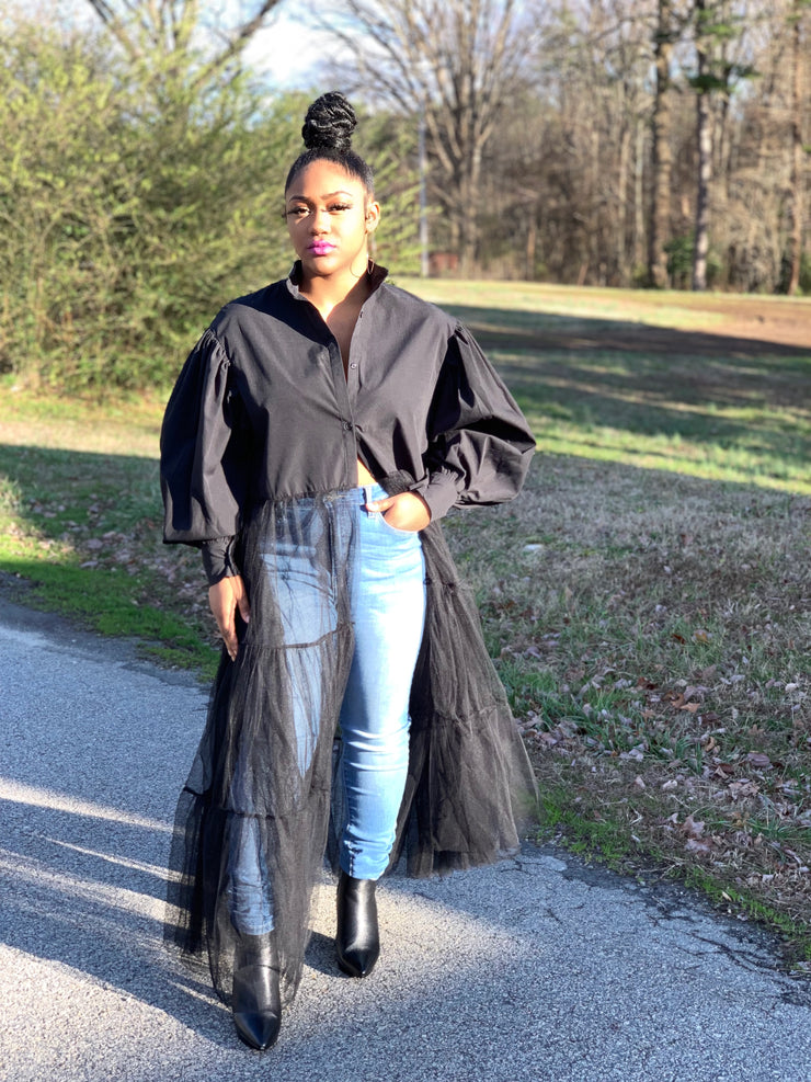 GOLDxTEAL So Fresh Black Shirt. Gorgeous long black shirt with lantern sleeves and netted bottom.