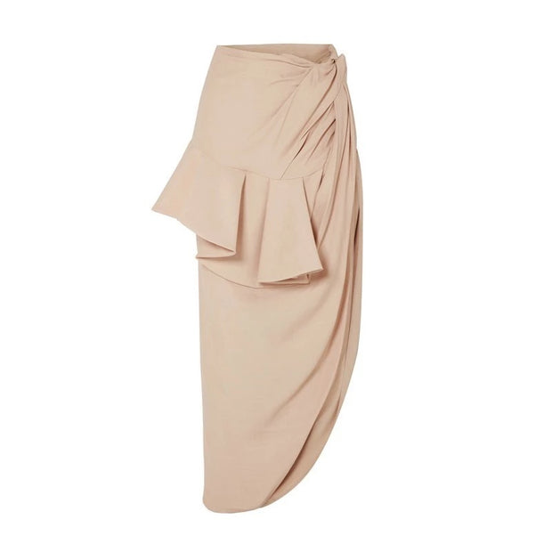 GOLDxTEAL wrap midi skirt with high side slit, dramatic ruffle front and ruching.