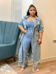 GOLDxTEAL stretch denim jumpsuit. Sweetheart bustline denim jumpsuit.