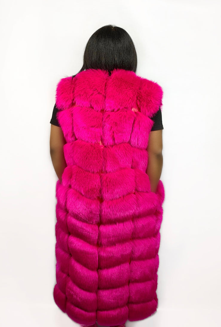Gold x Teal long pink faux fur coat vest. Luxurious, thick and fluffy vegan fur sleeveless coat.