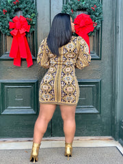 GOLDxTEAL metallic print sweater mini dress. Gorgeous knot mini dress with puff lantern sleeves.