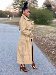 GOLDxTEAL Aggie Coat. Stylish modern trench coat with adjustable lacing through out.