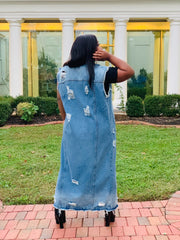 GOLDxTEAL Vintage Fresh denim vest. Stylish distressed long denim vest.