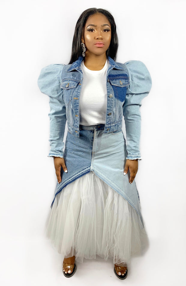 GoldxTeal high waist denim and tulle maxi skirt. Stunning light and dark panel distressed skirt with tulle underlay.