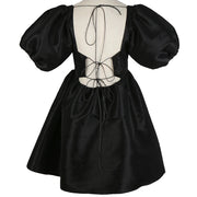 GoldxTeal black babydoll mini dress with big puff sleeves and open back. Gorgeous black satin mini dress.