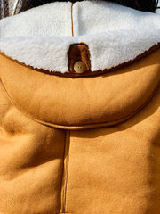 GOLDxTEAL cropped faux shearling jacket with a hood. Stylish faux shearling jacket.