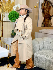 GOLDxTEAL khaki trench coat. Stylish trenche coat with zip off bottom.