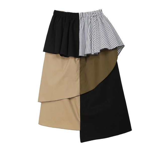 GOLDxTEAL Gem Asymmetrical Skirt. Stylish layered ruffle patchwork skirt with an asymmetrical cut.