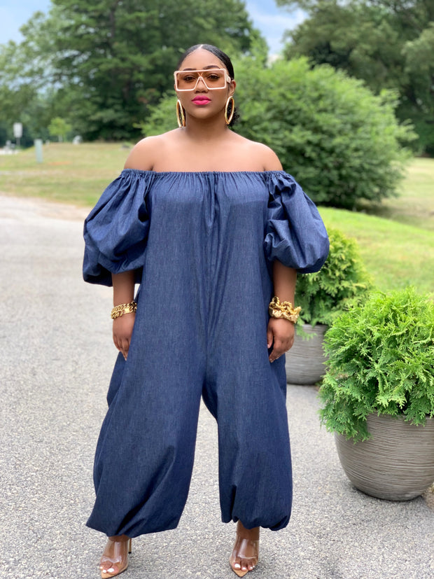 GOLDxTEAL Divine Jumpsuit. Stylish and chic chambray oversized jumpsuit. Can be worn on or off the shoulders.