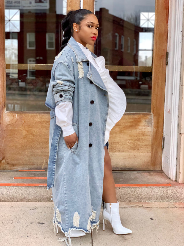 GOLDxTEAL Chill Lady Denim Trench Coat. Gorgeous distressed denim trench with double breasted front.