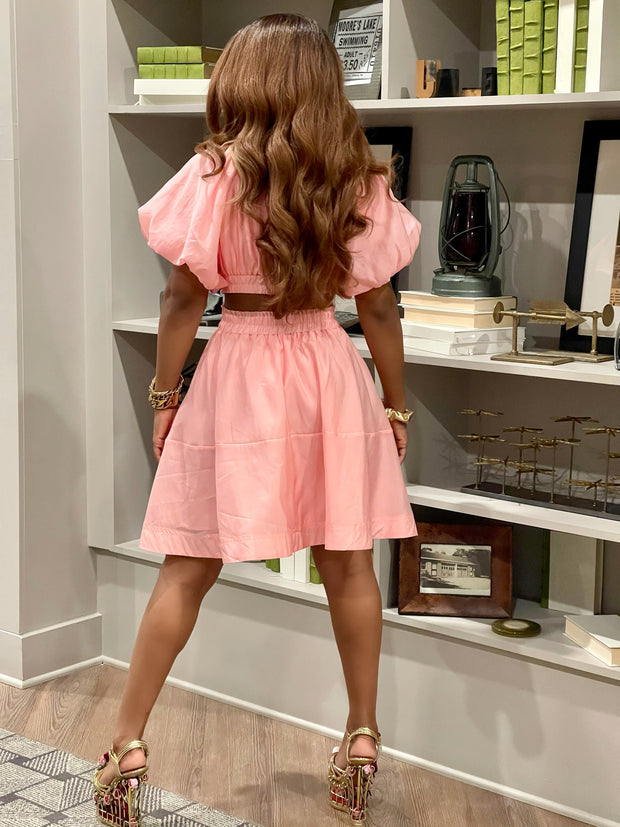 GOLDxTEAL pink puff sleeve dress. Stylish cutout dress.