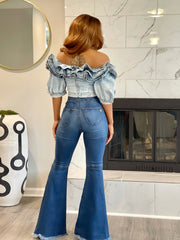 GOLDxTEAL denim ruffle crop top. Stretch denim crop top with short sleeves.