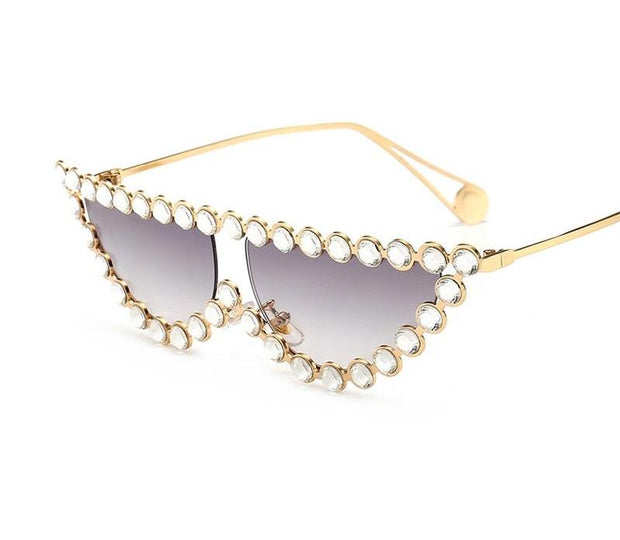 Gold x Teal crystal trimmed cat eye sunglasses. Fashion cat eye sunglasses.
