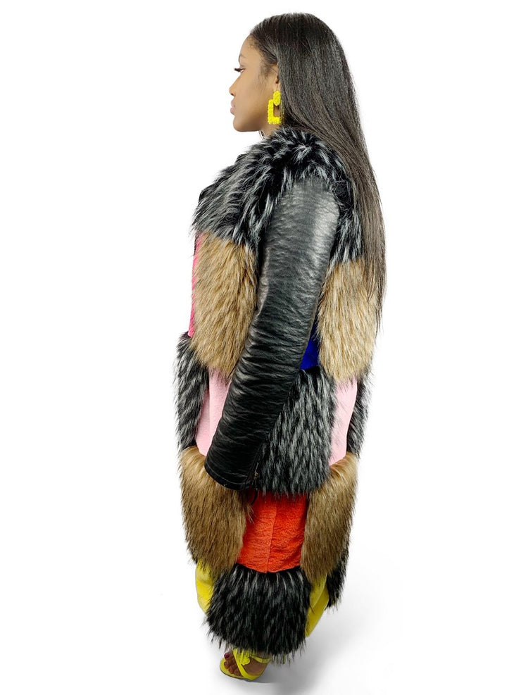 Gold x Teal faux fur patchwork long coat vest. Bright colorful faux fur patchwork sleeveless coat.