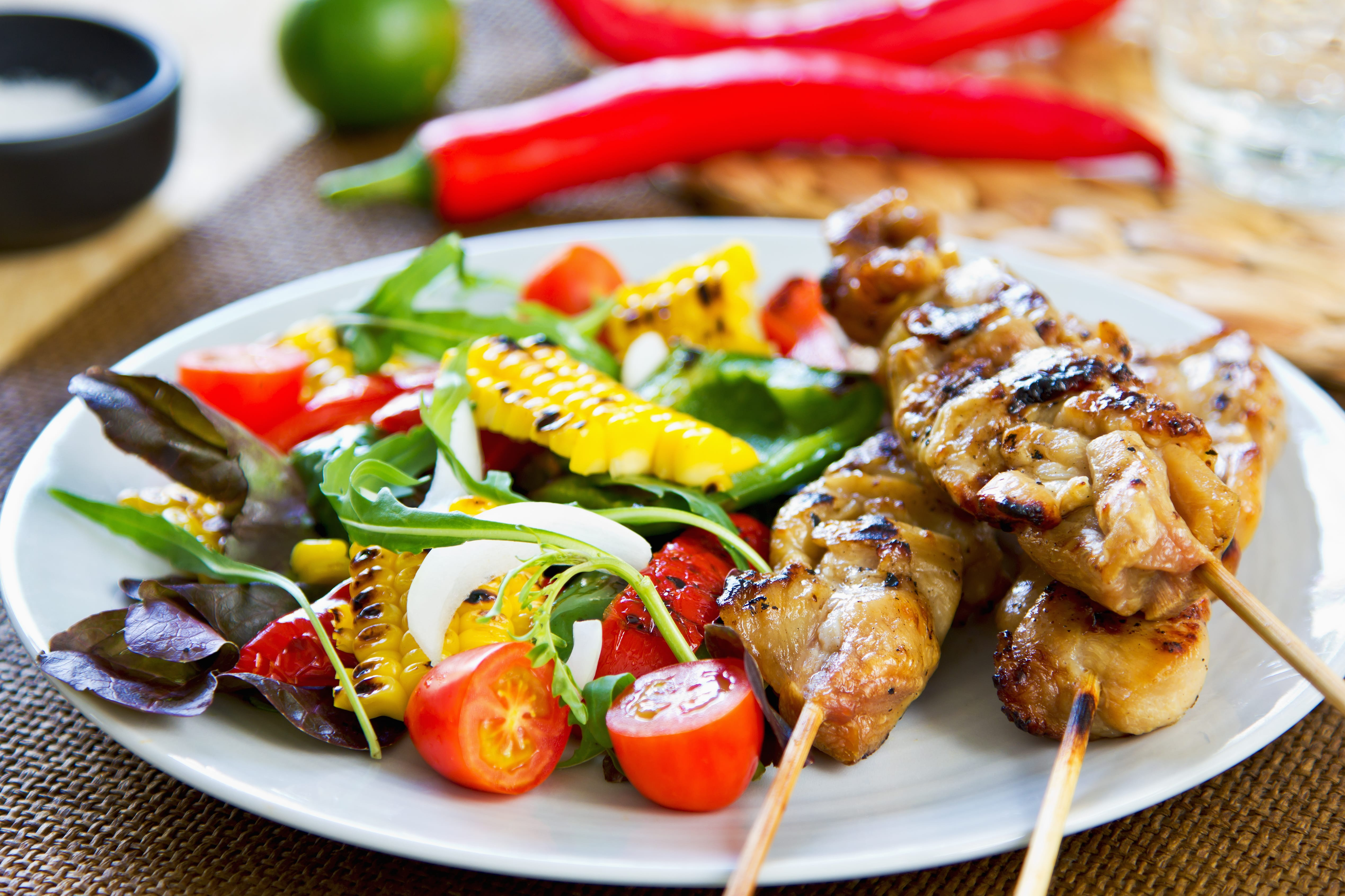Grilled chicken skewer with grilled vegeyables salad