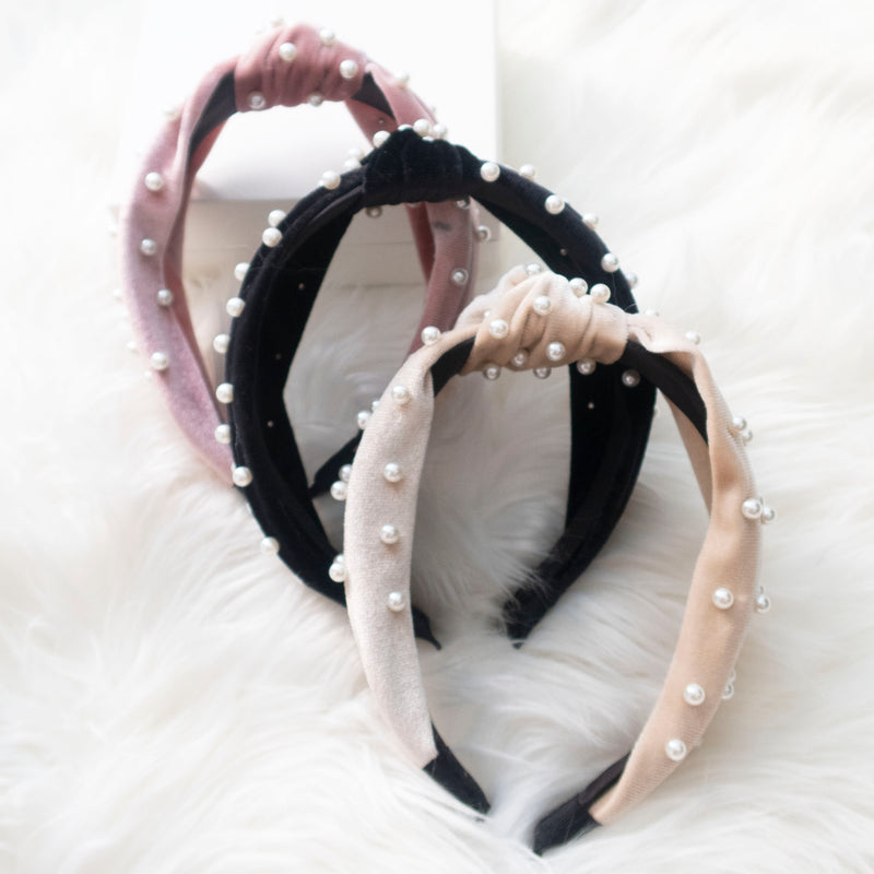 Blush Velvet Pearl Headband