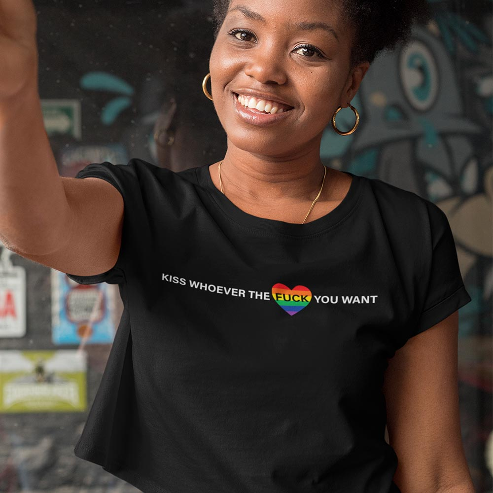 Kiss who ever the fuck you want LGBTQ Pride crop t shirt.