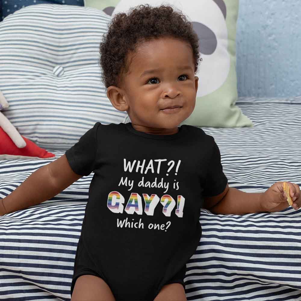 Baby pride onesie with rainbow colors for same-sex parents present
