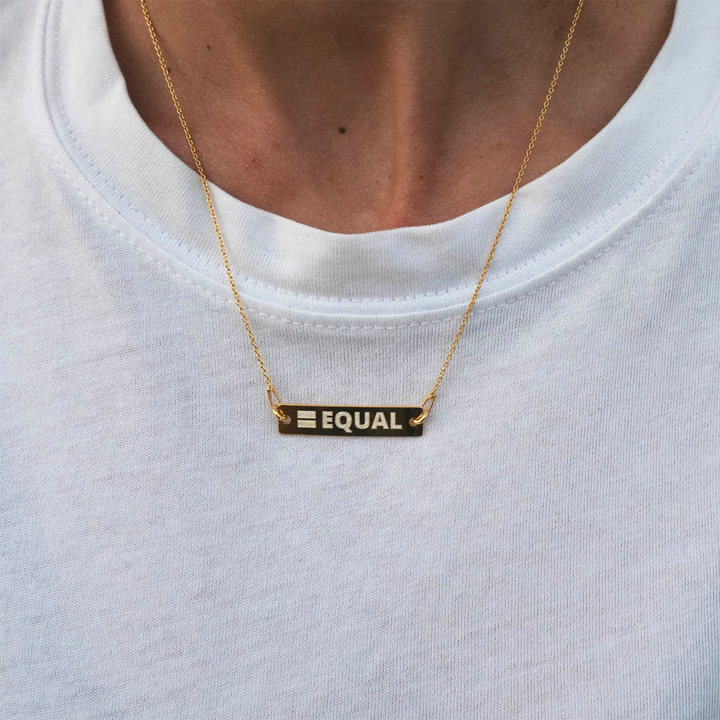 LGBTQ Equal sign pride gold necklace engraved for lesbian wedding gift