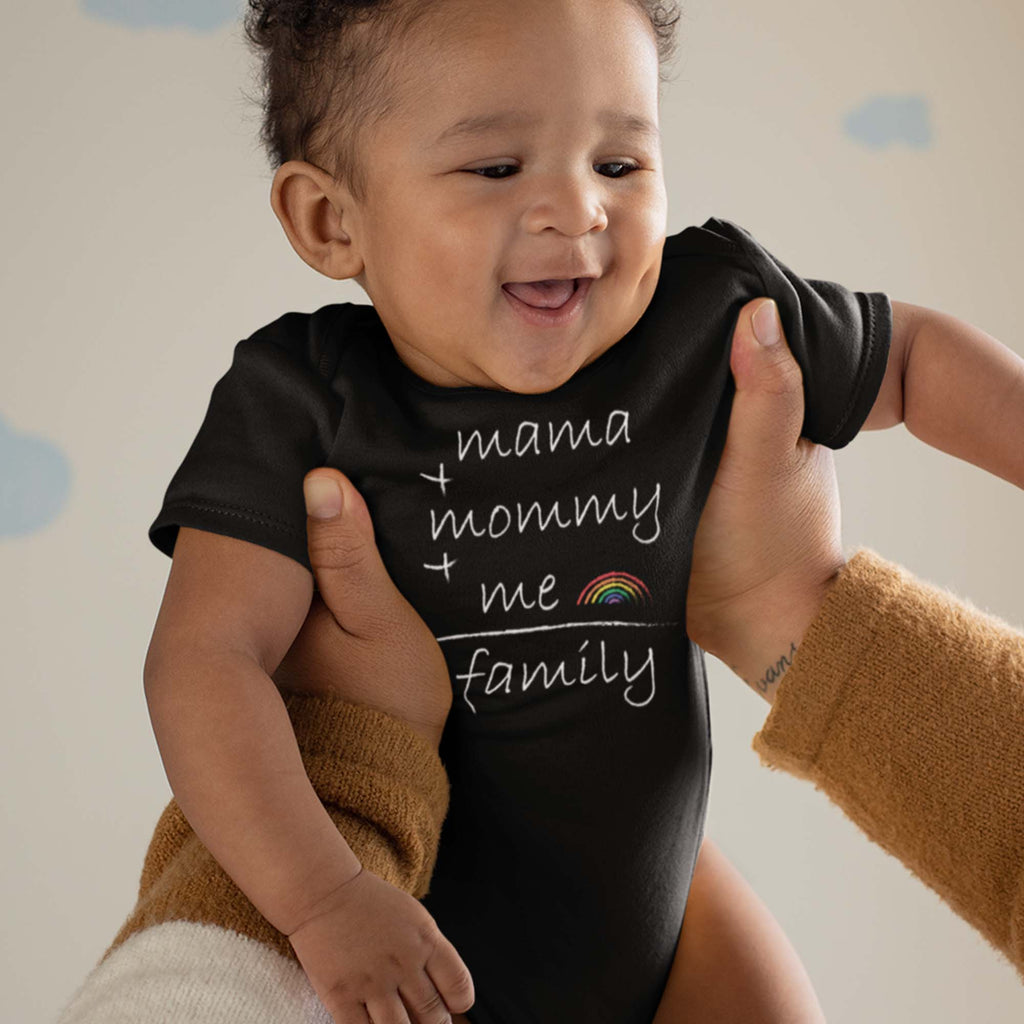 Rainbow Pride parade 2020 baby bodysuit onesie for LGBTQ family with same-sex parents