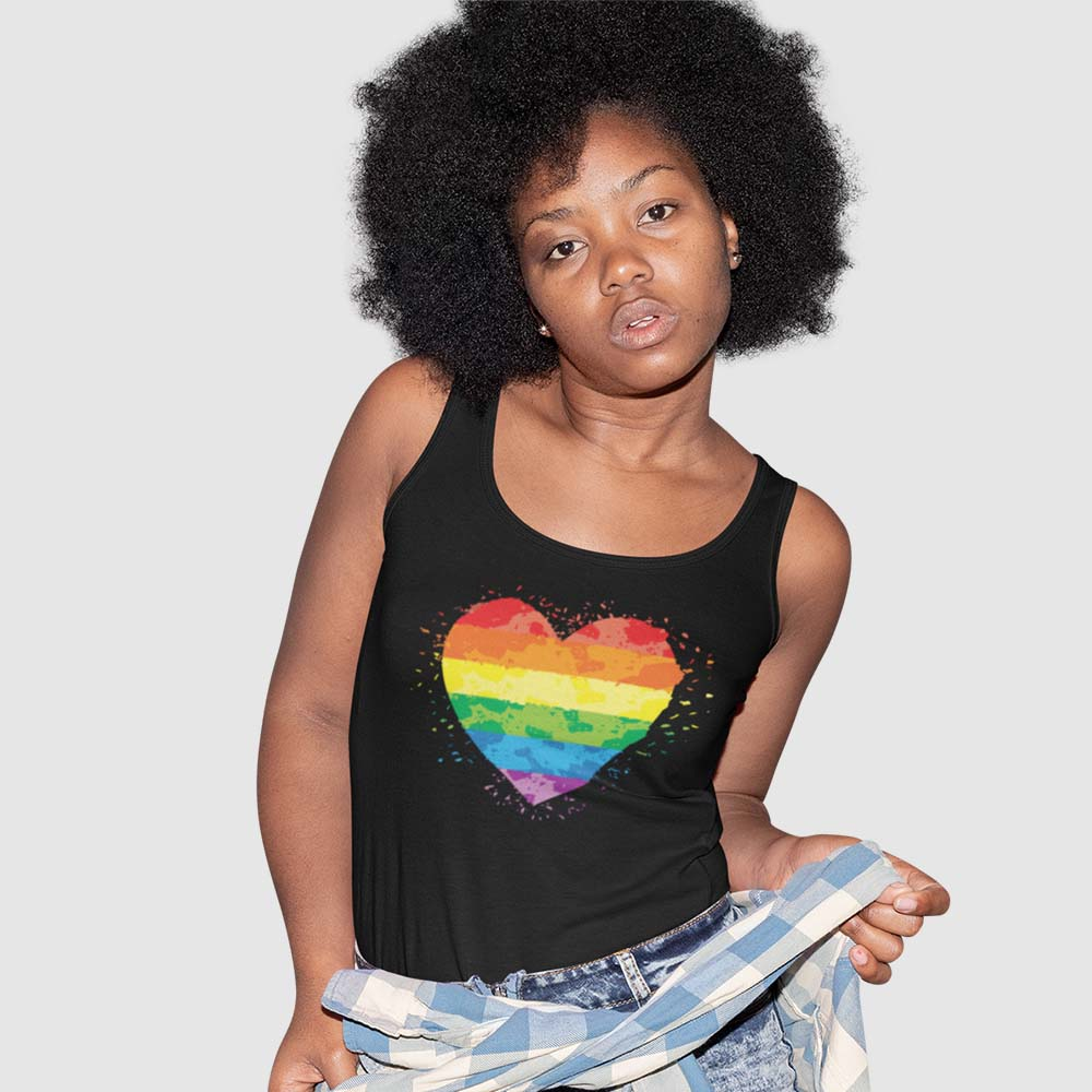 Women wearing rainbow flag shirt for global pride 2020
