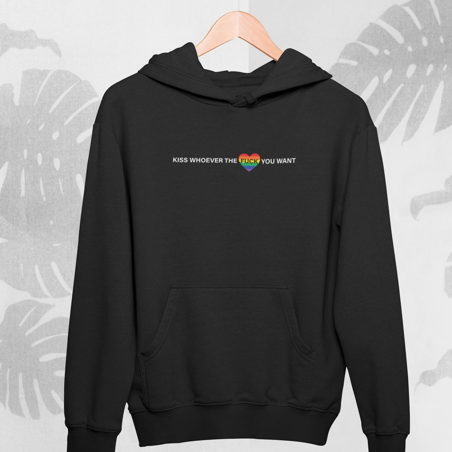 black hoodie with lgbtq pride rainbow flag