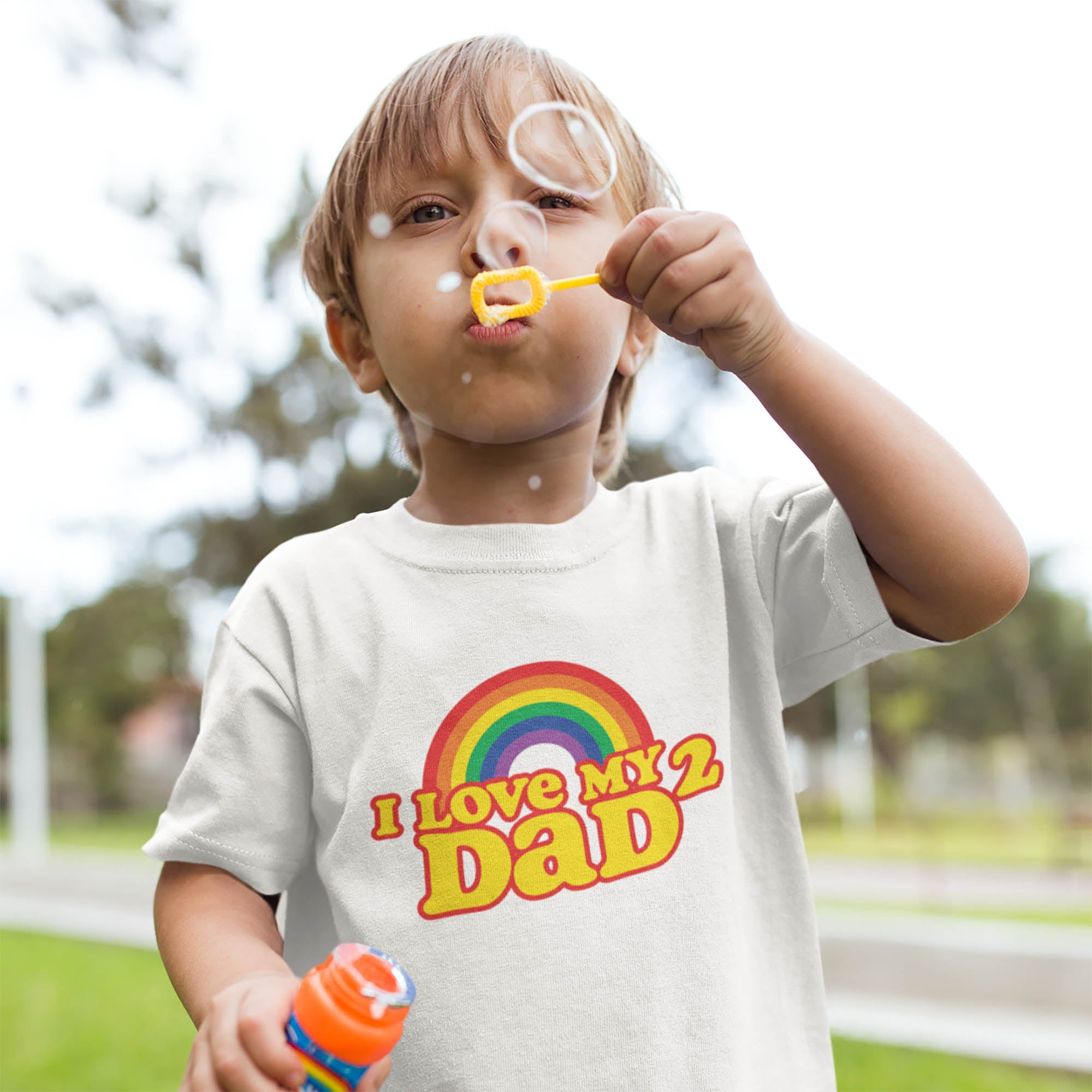 I Love my 2 DADS Toddler Short Sleeve Tee