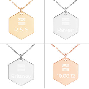 4 colors customize equal sign necklace with engrave name, initials, dates for LGBTQ community couple gift