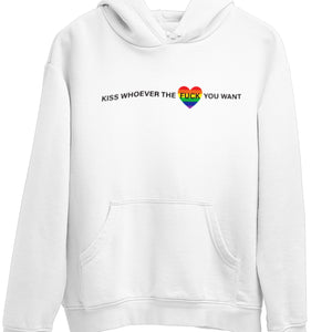 Open image in slideshow, Kiss who ever the fuck you want LGBTQ Pride hoodie