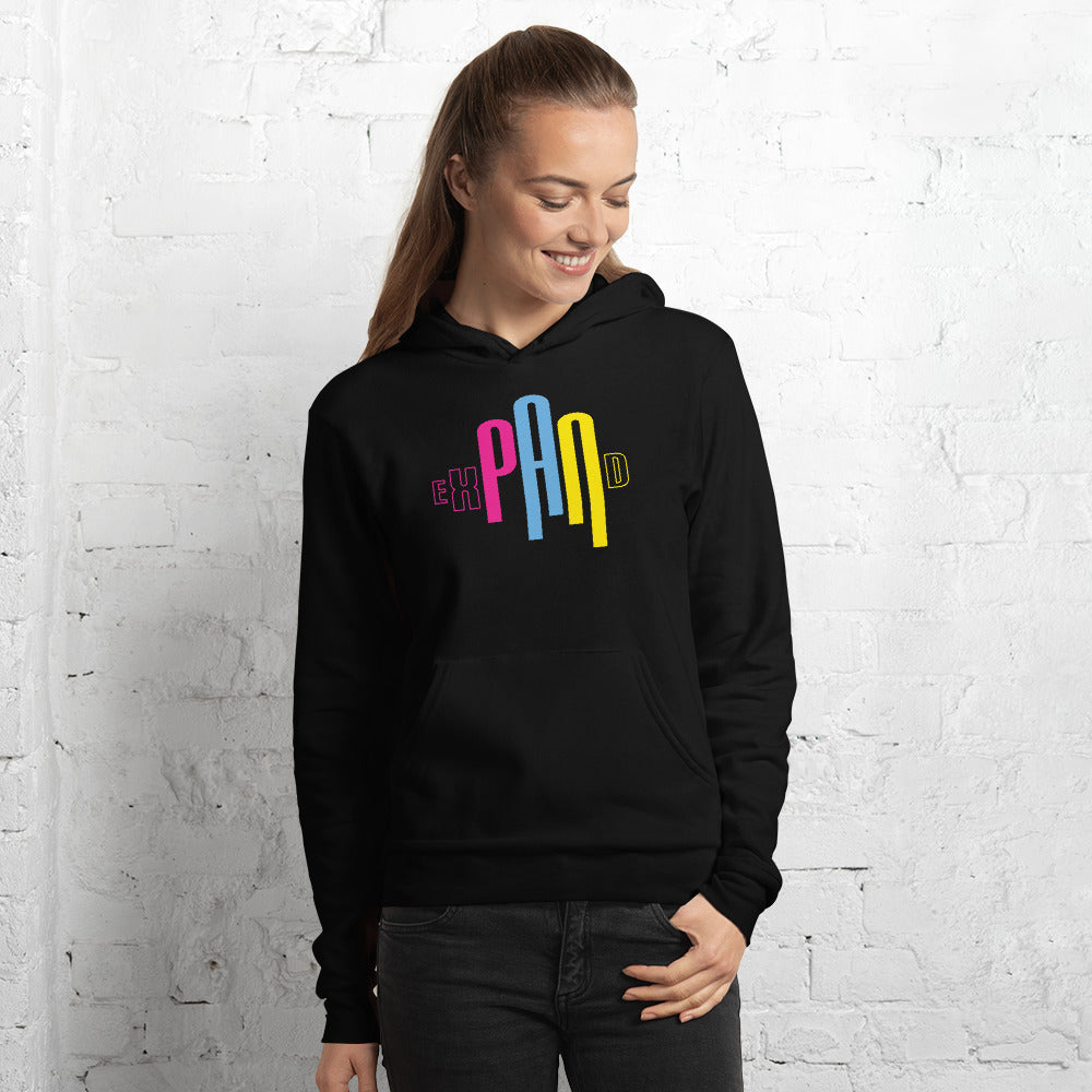 expand pansexual flag on a hoodie