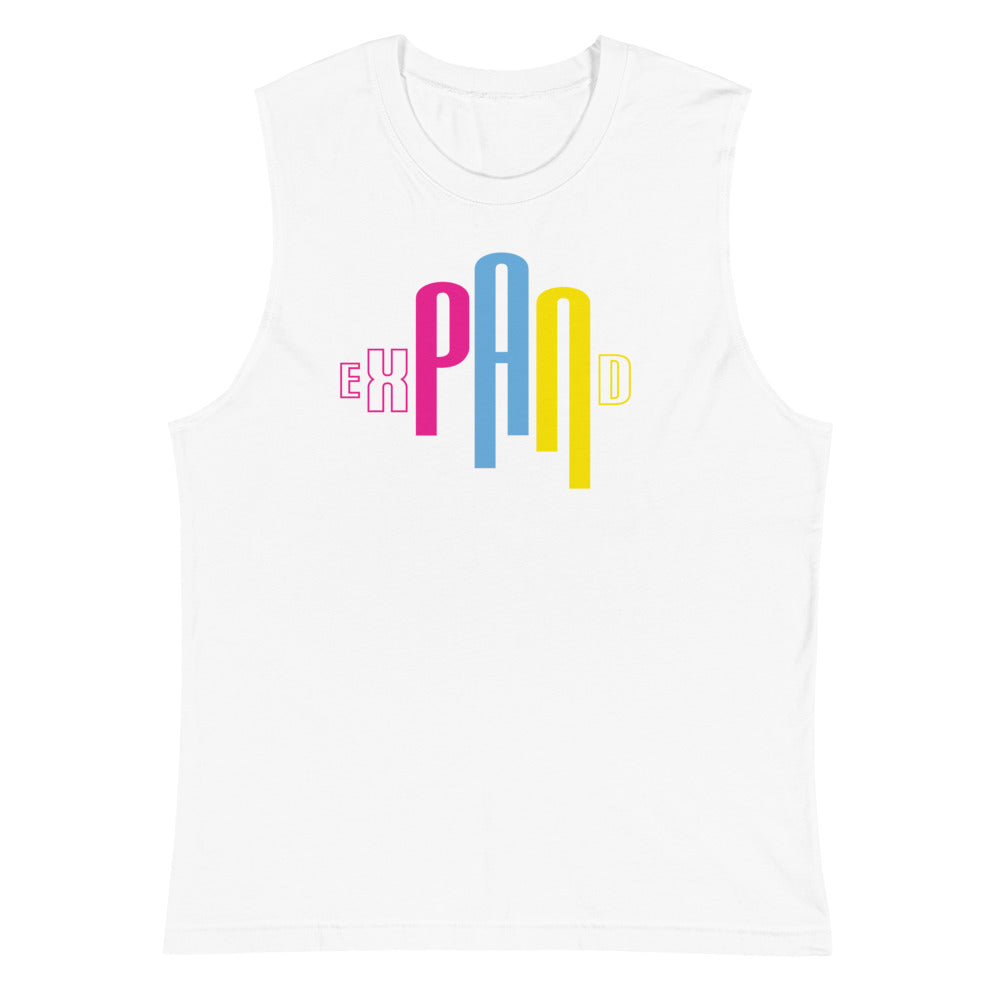 white muscle t with expand design pansexual shirt