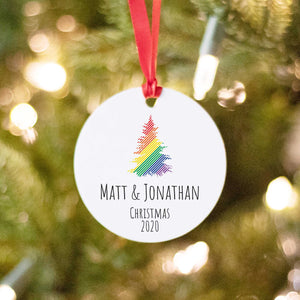 Christmas tree with Rainbow stripes for LGBTQ couple