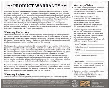 Elk Outdoors Warranty