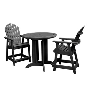Hamilton 3pc 36in Round Dining Set - Counter Height Dining Highwood USA Black
