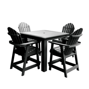 Hamilton 5pc Square Dining Set 42in x 42in - Counter Height Dining Highwood USA Black