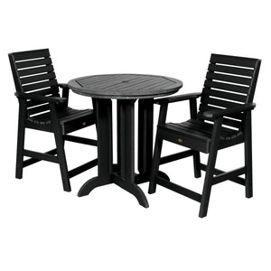 Weatherly 3pc 36in Round Dining Set - Counter Height Dining Highwood USA Black