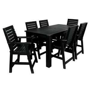 Weatherly 7pc Rectangular Dining Set 37in x 72in - Counter Height Dining Highwood USA Black