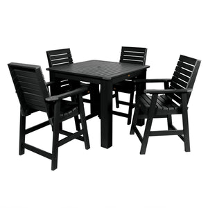 Weatherly 5pc Square Dining Set 42in x 42in- Counter Height Dining Highwood USA Black