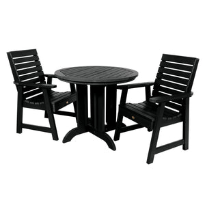 Weatherly 3pc 36in Round Dining Set - Dining Height Dining Highwood USA Black