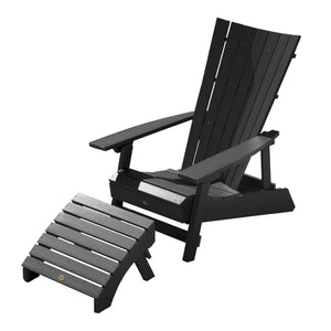 Manhattan Beach Adirondack Chair with Folding Adirondack Ottoman Highwood USA Black