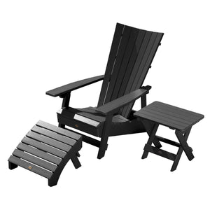 Manhattan Beach Adirondack Chair with Folding Adirondack Side Table and Ottoman Highwood USA Black