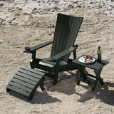 Manhattan Beach Adirondack Chair with Wine Glass Holder with Folding Adirondack Side Table and Ottoman