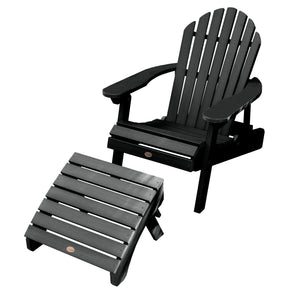 Hamilton Folding & Reclining Adirondack Chair with Folding Adirondack Ottoman Highwood USA Black