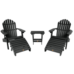 2 Hamilton Folding & Reclining Adirondack Chairs, 2 Ottomans & 1 Folding Side Table Highwood USA Black
