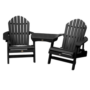 2 Hamilton Folding & Reclining Adirondack Chairs with 1 Adirondack Tete-a-Tete Connecting Table Highwood USA Black
