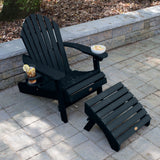 1 Hamilton Folding & Reclining Adirondack Chair with 1 Ottoman & 1 Easy-add Cup Holder Kitted Sets Highwood USA
