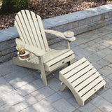 1 Hamilton Folding & Reclining Adirondack Chair with 1 Ottoman & 1 Easy-add Cup Holder