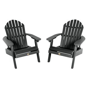 Set of Two Highwood Hamilton Folding and Reclining Adirondack Chairs Highwood USA Black