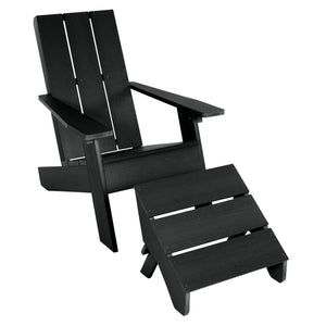 Barcelona Modern Adirondack Chair and Ottoman Highwood USA Black